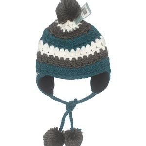ROLLIC pom pom beanie hat with side strings